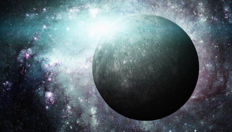 Planet Mercury on Galaxy Background