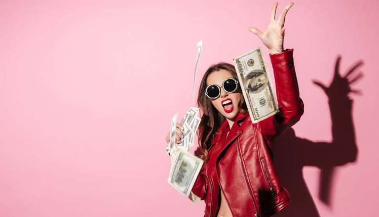 Girl throwing Money, pink background