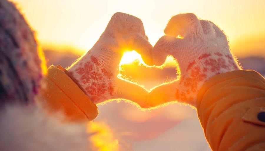 Heart Hands in Winter Solstice Sun