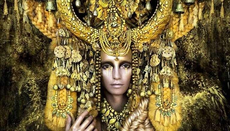 GOlden Goddess with huge Headress