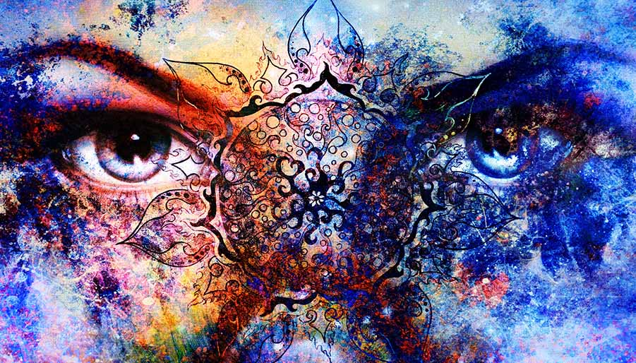 eyes of a mystical woman, the empress, with sacred geometry and mandala