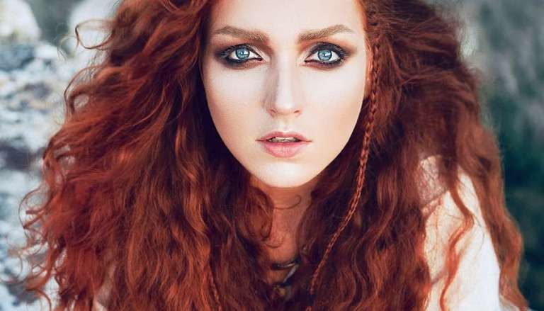 Dramatic Red-haired woman with Blue Eyes - Goddess Brigid