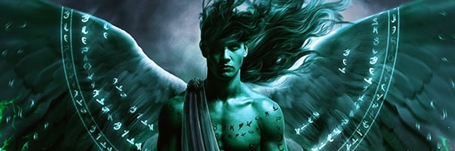 Archangel Raphael in Dark Green with Long Hair and Wide Spread Wings