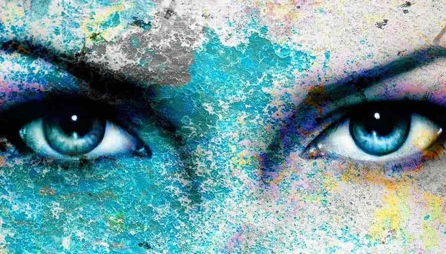 Blue Eyes Close up of Divine Feminine Goddess