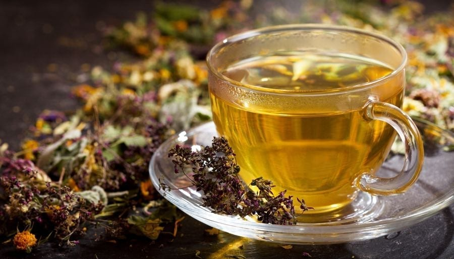 Glass Cup of Herbal Tea