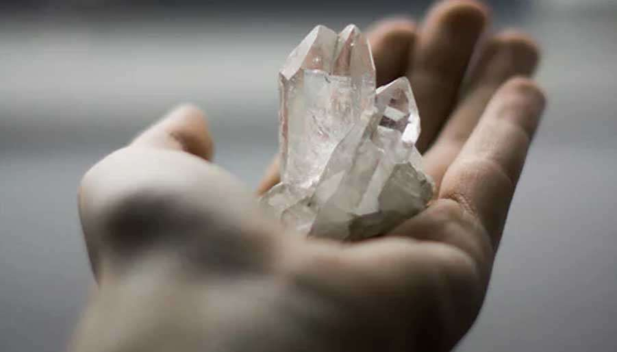 holding crystals