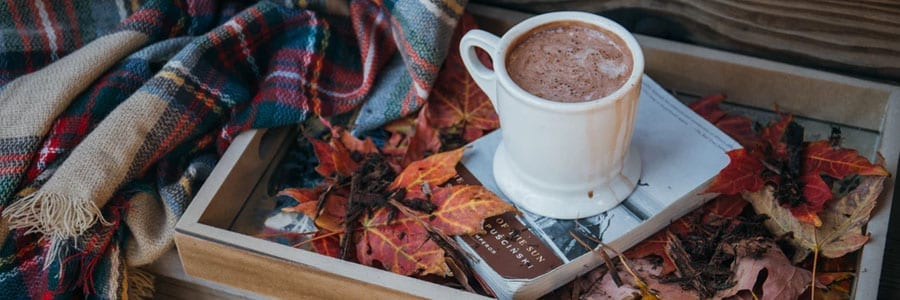 bringing nature indoors with autumn leaves and hot cocoa