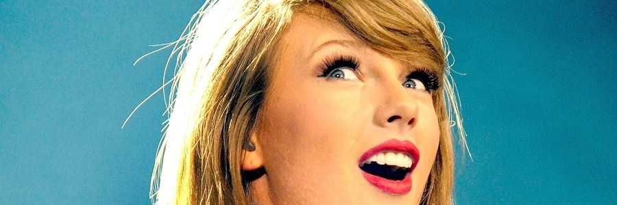 Taylor Swift Close Up Blue Background