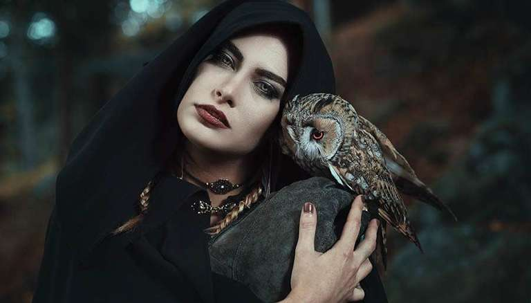 witch performing magick spell