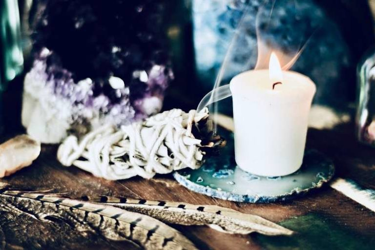 Winter Altar with Amethyst, Smudge (White Sage) and Candle